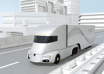 Self-driving electric semi truck driving on highway. 3D rendering image.