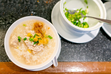Boiled rice pork or mush the delicious Thai food breakfast