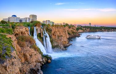Duden coast waterfalls, Antalya, Turkey, on sunset