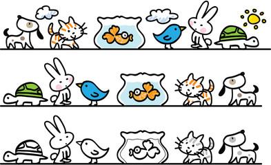 pets cartoon vector set