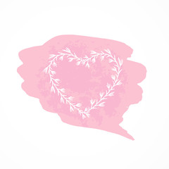 Vector illustration with a floral frame in the shape of a heart.