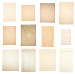 Collage of Twelve Vintage Piece of Blank Paper on a White Background