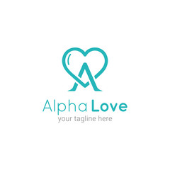 Alpha Love Initial A Logo Template