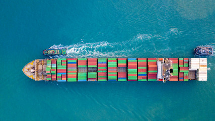 Aerial view , container ship or cargo ship in import export and business logistic