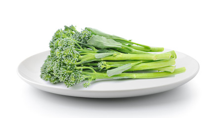 broccoli in plate isolated on a white background