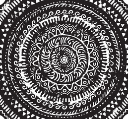Ink decorative mandala in african style. Vector illustration