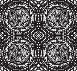 Black and white decorative seamless pattern in african style. Ethnic art. Hand drawn illustration