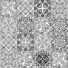 Ceramic tile with outline patchwork in spanish style