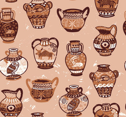Collection of amphora and vase wih cartoon animals and decorative ornament in the Greek style