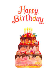 Greeting card or poster. Happy Birthday. Watercolor illustration