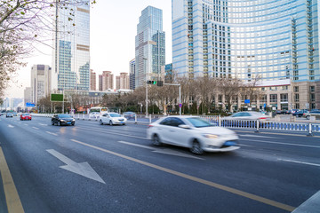 Architectural landscape and road in Qingdao City Center