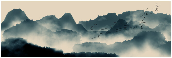 Foto auf Leinwand Beige Chinese ink and water landscape painting