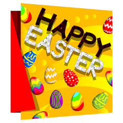 Happy Easter text and eggs on banner with floral elements. Vector illustration.