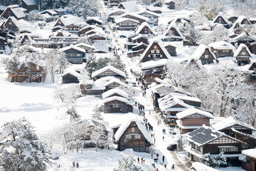 Shirakawa go village in winter, Shirakawa go, Japan