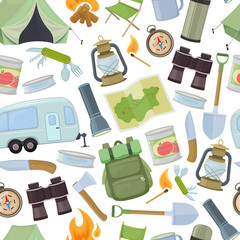 Seamless pattern of travel equipment. Accessories for camping and camps. Colorful cartoon illustration of camping and tourism equipment. Vector