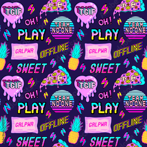 Colorful seamless pattern with patches, stickers, badges