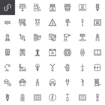 Electrician elements line icons set, outline vector symbol collection, linear style pictogram pack. Signs, logo illustration. Set includes icons as wire, high voltage, electric meter, power supply