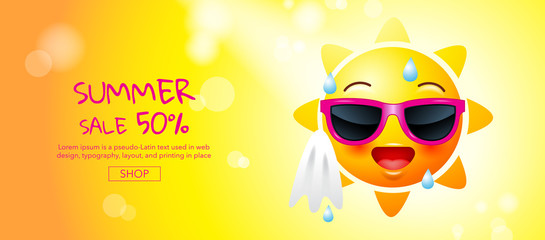 summer sale , cartoon, sun face, layout design, greeting card, cover book, banner,  template design, vector illustration