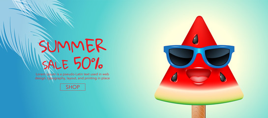 summer sale , cartoon, ice cream , face, layout design, greeting card, cover book, banner,  template design, vector illustration