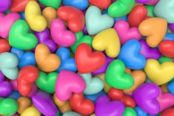 3D model multicolor hearts background