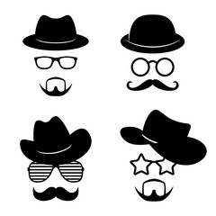 Man faces with glasses, mustache, beard, hats. Photo props collections. Retro party set. Vector