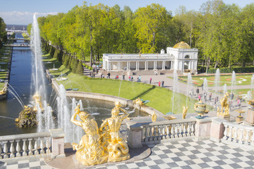PETERHOF, RUSSIA,  Grand cascade in Pertergof, St-Petersburg. the largest fountain ensembles  View at the Baltic sea and park.