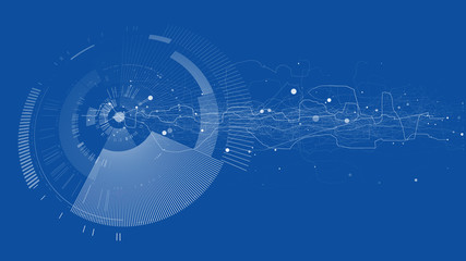 Abstract tech design background. Engineering technology wallpaper made with lines, dots, circles. Futuristic technology interface on blue background. Digital technology concept, vector illustration.