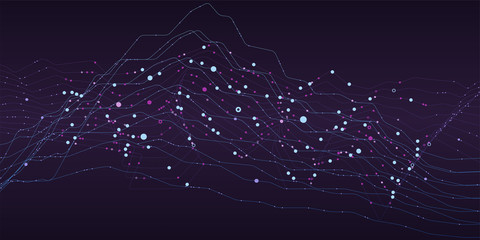 Big data stream futuristic infographic. Quantum computing, cryptography, trendy technologies infographic. Colorful particle wave. Bigdata visualization. Abstract visual data vector design. Wall mural