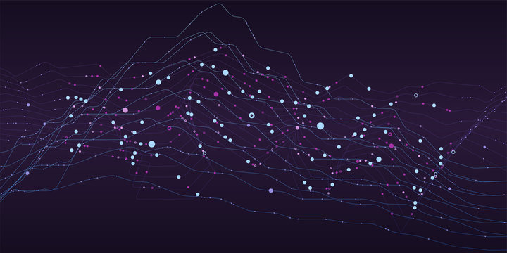 Big data stream futuristic infographic. Quantum computing, cryptography, trendy technologies infographic. Colorful particle wave. Bigdata visualization. Abstract visual data vector design.