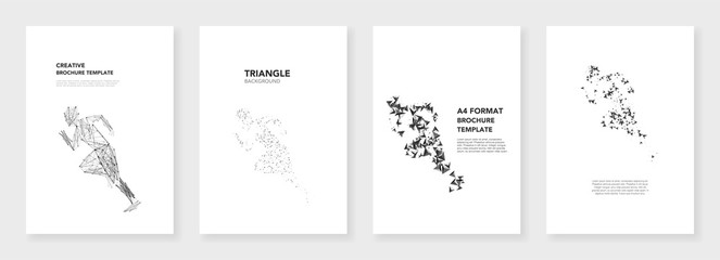 Minimal brochure templates. Triangle elements on white background. Technology sci-fi concept for sports industry, abstract vector design. Templates for flyer, leaflet, brochure, report, presentation.
