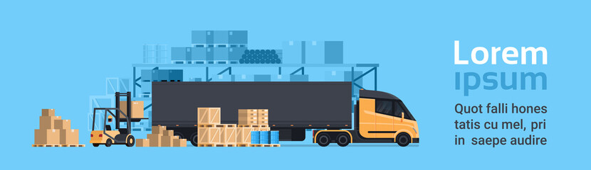 Lorry Loading With Forklift, Cargo Container Truck Warehouse Building. Shipping And Transportation Concept Horizontal Banner With Copy Space Flat Vector Illustration