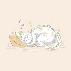 cartoon character for children. little dinosaur. dragon asleep, rest, vacation. Vector graphics