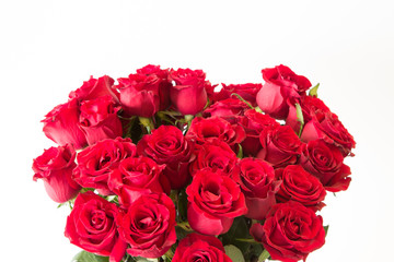 The beautiful red roses bouquet on isolate white background.
