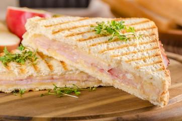Panini cheese ham toast, fresh apple sandwitch
