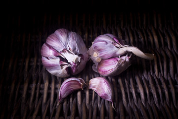 organic red garlic  (light painting technique)