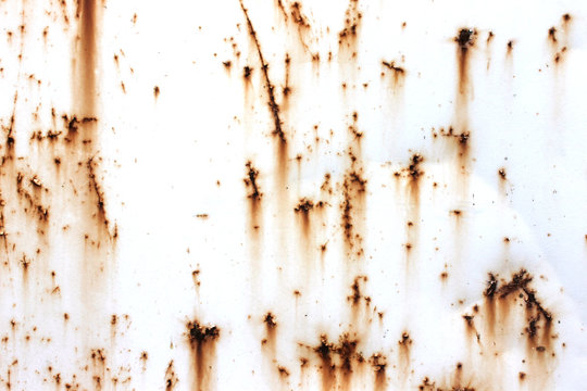 Old rusty white metal. The rust on metal background. Grunge wall background
