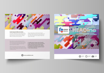 Business templates for square design brochure, magazine, flyer. Leaflet cover, abstract vector layout. Colorful minimalist backdrop with geometric shapes forming beautiful minimalistic background.