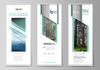 Roll up banner stands, flat design templates, vertical vector flyers, flag layouts. Colorful background, triangular or hexagonal texture for travel business, natural landscape in polygonal style.