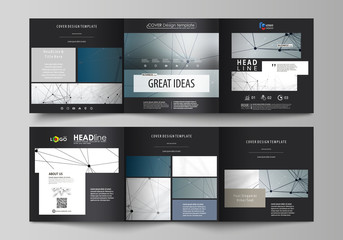 Set of business templates for tri fold square design brochures. Leaflet cover, abstract vector layout. DNA and neurons molecule structure. Medicine, science, technology concept. Scalable graphic.