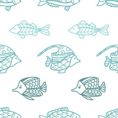 Vector seamless blue doodles fish pattern.
