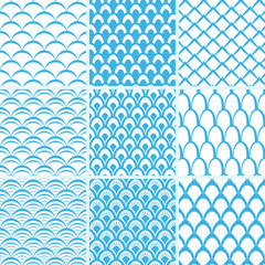 Vector set of seamless pattern scales