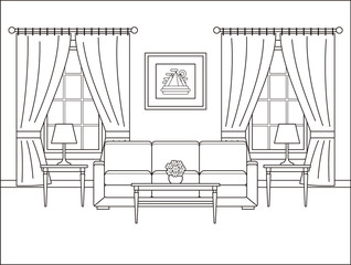 Living room interior. Linear room in flat design with window. Vector. Outline background. Home space with furniture in line art. Coloring page. Salon. Thin line illustration. Cartoon house sketch.