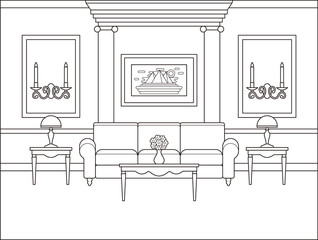 Living room interior. Linear room. Vector. Outline background in classic style. Coloring page. Black white sketch salon with columns. Thin line illustration in flat design. Home space with furniture.