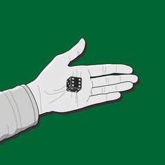 Black gambling dice on the palm outlined on the green background. Human hand and a cube with white dots. Design Concept of dice roll, tabletop or board game playing, gambling device. Vector