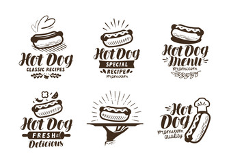 Hot dog logo or label. Fast food, takeaway icon. Lettering vector illustration