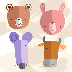 Set of Adorable Baby Animals : Vector Illustration
