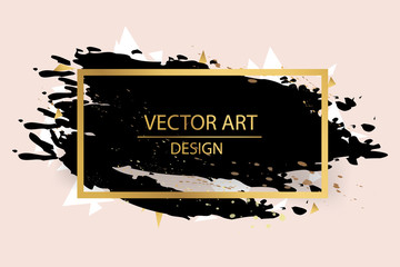 Gold paint in black square. Hand painted vector brush stroke. Perfect design for headline, logo and sale banner. Empty space for Text.