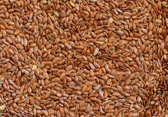 Closeup flax seeds as natural background. Selective focus.
