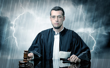 Young judge with hard time concept
