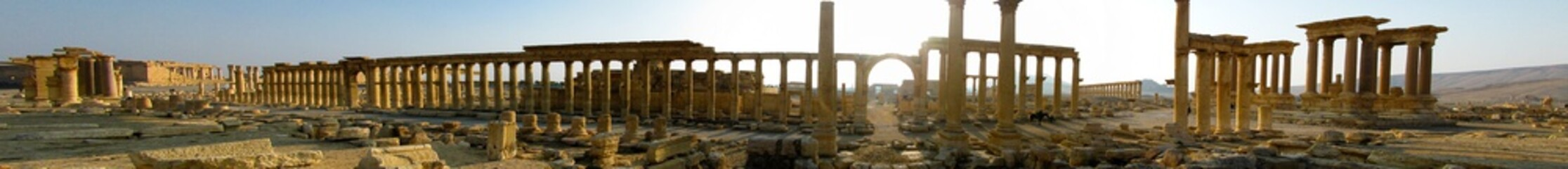 Aluminium Prints Ruins Panorama of Palmyra columns, Tetrapylon, ancient city, destroyed now, Syria